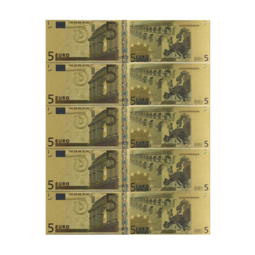 5 Euro European Normal Money 24k Gold Banknote 5 Pcs Currency Bill Note Gifts