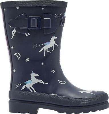 Joules WELLY PRINT Girls Rain Snow Flexible Comfy Rubber Wellies Navy Unicorns