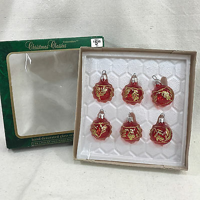 6 Commodore Red Gold Round Ball Christmas Classics Tree Ornaments Hand Crafted