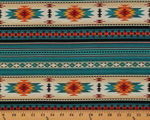 Southwestern Aztec Tucson Turquoise Stripes Cotton Fabric Print By