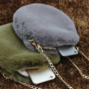 313248bddb Women Faux Cony Fur Clutch Bag Fluffy Furry Round Purse Chian Strap ...