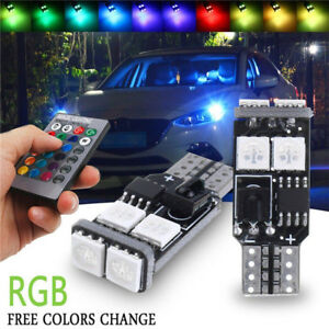 2-X-T10-W5W-RGB-LED-Car-Wedge-Side-Light-6-SMD-5050-Reading-Bulbs-Remote-Control