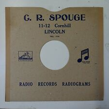 """10"""" 78rpm gramophone record sleeve G R SPOUGE lincoln"""