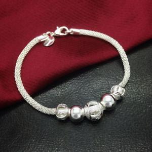 925-Silver-Plated-Charm-Beads-Chain-Bracelet-Bangle-Fashion-Women-Jewelry-Gift