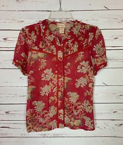 April Cornell Women's XS Extra Small Red Floral Short Sleeve Spring Top Blouse