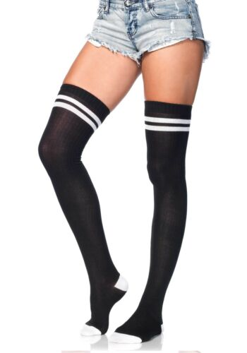 Athletic Ladies Sports Thigh High Socks Black White Cheerleader Ribbed Striped