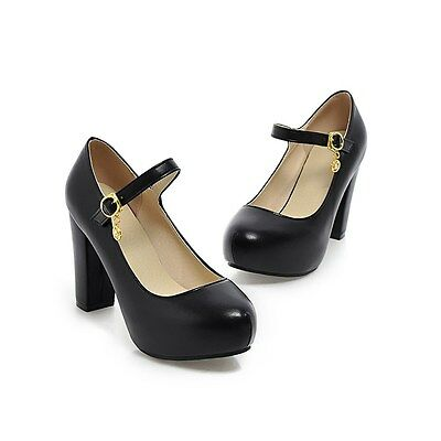 Womens Mary Jane Lolita Round Toe High Heel Block Pumps Tassel Shoes US4-10.5