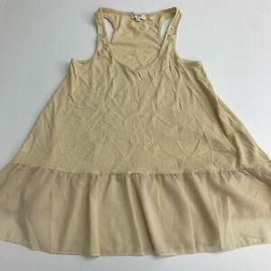 Umgee Cami Tank Top Women's S Light Yellow Tan Semi Sheer Trim Sleeveless Casual