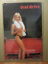 Vintage HOT STUFF 1986 poster car garage man cave hot girl  750