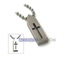 Accents Kingdom Mens Titanium Cross Pendant Surfer Necklace S2