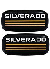 2x New Custom Epoxy Resin Silverado Emblems Pillar Cab Badges Logo For Chevy