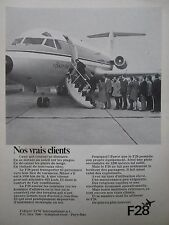 7/1971 PUB FOKKER VFW F28 AIRLINER AIRLINE ORIGINAL FRENCH AD