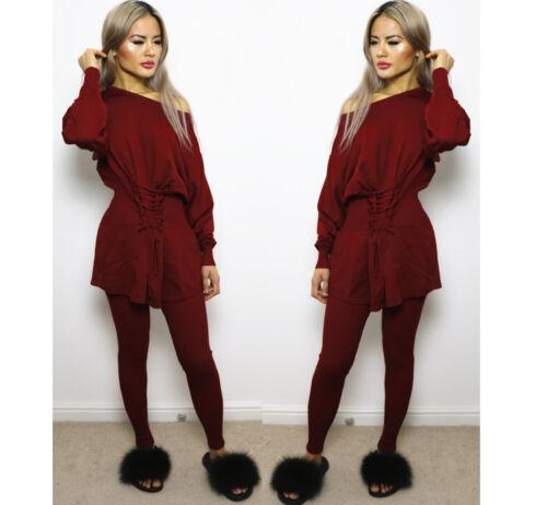 2PCS Damen Zopfmuster Schulterfrei Übergröße Pullover Top Lounge Kleidung Satz