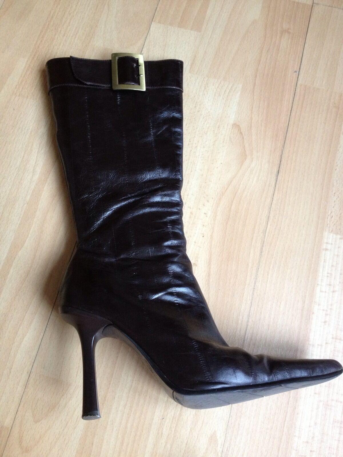Lovely Aldo Dark Braun Leder Long Stiefel, Größe UK3 -