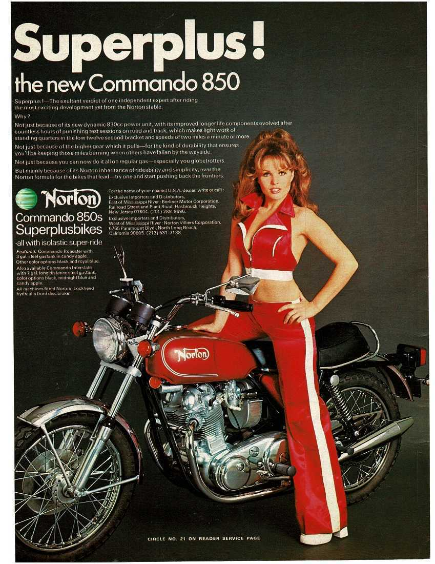 Image 1 - 1973 NORTON Commando 850 Motorcycle Red Superplusbikes Vintage Print Ad