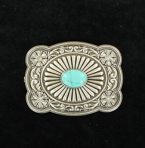 RHINESTONE-COWGIRL-Silver-TURQUOISE-Western-Belt-Buckle-CRYSTAL-Square-37974