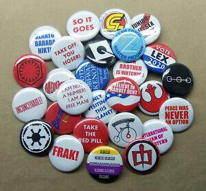 Build-Your-Own-5-Button-Set-1-25-034-SciFi-Movie-Humor-Weird-Politics-Pins-Pinbacks