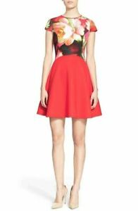 Ted-Baker-London-039-Calee-039-Floral-Print-Fit-amp-Flare-Dress-Sz-4