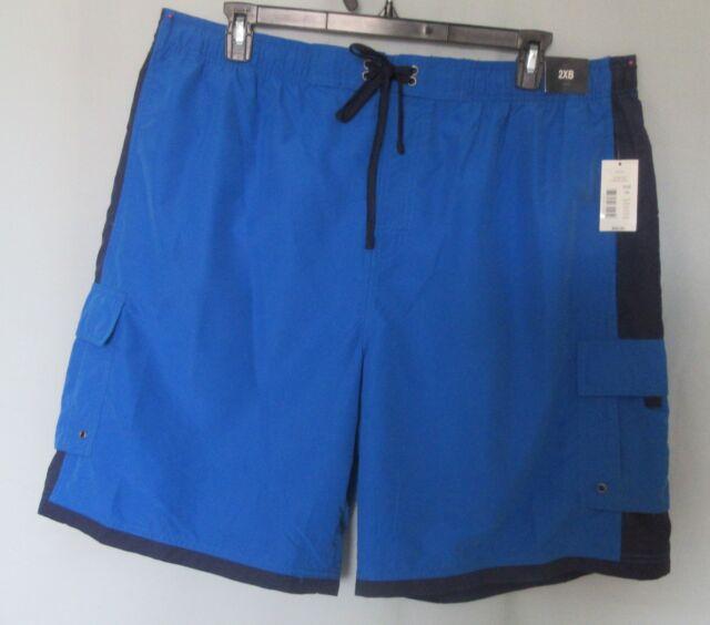 Roundtree & Yorke MEN'S SWIMWEAR Swim TRUNKS Polyester Blue Big 2XB NWT *