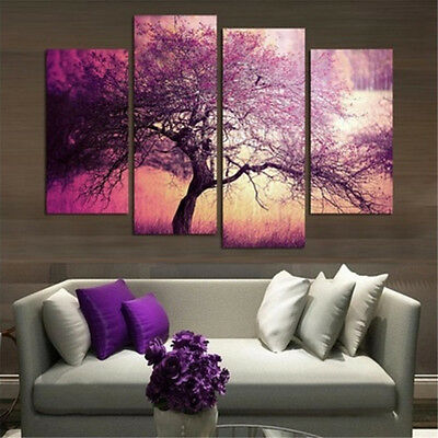 4PCS Cherry Blossom Tree Unframed Canvas Prints Modern Art Painting Home Decor