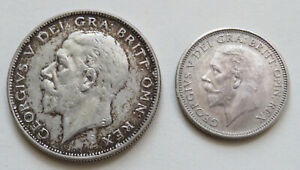 England-Great-Britain-George-V-Half-Crown-1933-Shilling-1928-Silber