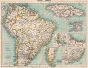 Map Of South America Jamaica.Details About South America Protestant Missions Jamaica Trinidad Br Guiana Brazil 1911 Map