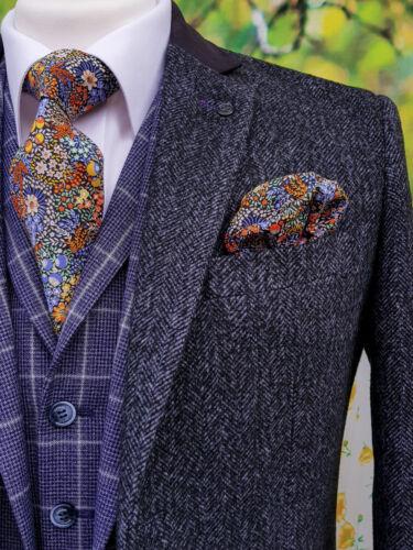 Slim Fit Tweed sopra cappotto Da Uomo Navy Premium Misto lana 3//4 Lunghezza sopra al ginocchio