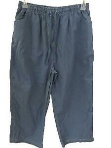 Palm-Grove-capris-size-XL-blue-elastic-waist-2-pockets-ties-lightweight