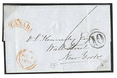 Vast Tt122 1851 Canada Montreal To New York Usa Maritime Cover Pts