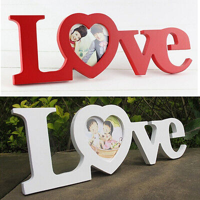 Durable White Red Love Wooden Wedding Photo Picture Frame Rahmen DIY Home Decor