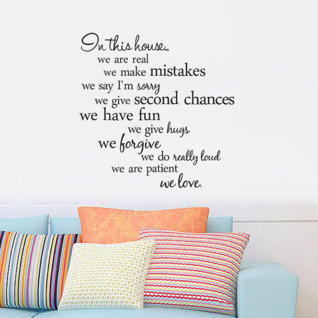 Wall Sticker Quote In This House We Are Real Home Decal Family Room Word Decor