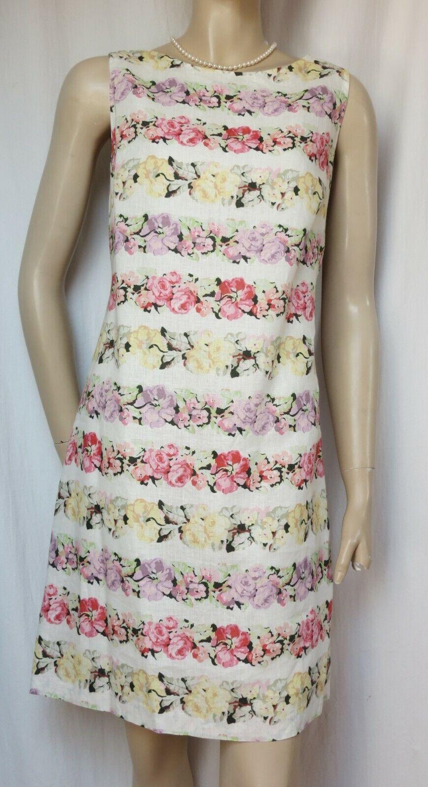 Laura Ashley Sommerkleid 38 Leinenkleid creme Rosa grün lila Blumen Hochzeit