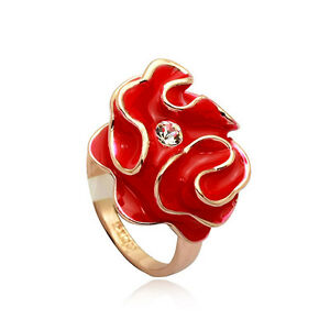 Extravagant-Design-Feminin-Luxe-Rouge-Bague-Or-750-18KRGP-plaque-or-Cristal