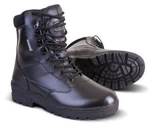 Black ALL Leather Cadet ATC Army Patrol Combat Boots Tactical ... d0334781e37