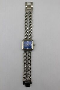 CHICO'S Silver Tone Blue Square Face Chain Strand Link Bracelet Watch