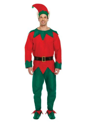Christmas Adult Elf Fancy Dress Up Costume Outfit Female OR Male Xmas Party NEW