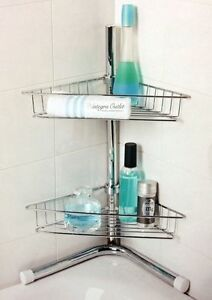 New 2 Tier Corner Shower Bathroom Caddy Chrome- Finish.