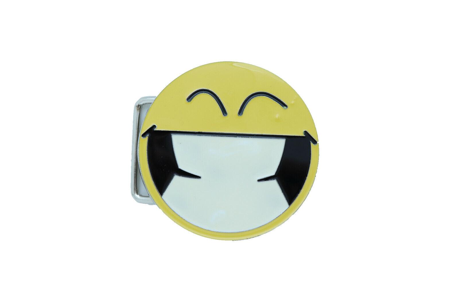 Women Belt Buckle Silver Metal Yellow Smiley Face Eyes Cute Fun Emoji 80's Style