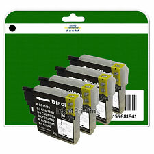4 Black Ink Cartridges for Brother DCP 145C 165C 167C 195C 197C non-OEM LC980