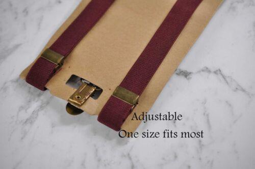 Burgundy Red Boy Kids Infant Tan Elastic Leather Braces Suspenders Navy Blue