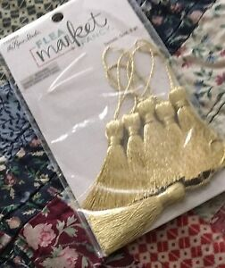 The-paper-studio-Flea-market-fancy-gold-tassels-8-pc-paper-crafting-3-5-034-long