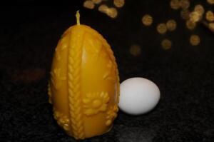 Bougie Decorative 100 Cire D Abeille œuf Avec Fleurs Handarbeit De