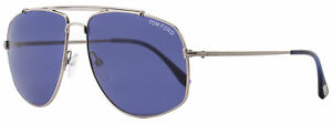 Tom-Ford-Aviator-Sunglasses-TF496-Georges-14V-Ruthenium-Blue-Horn-FT0496