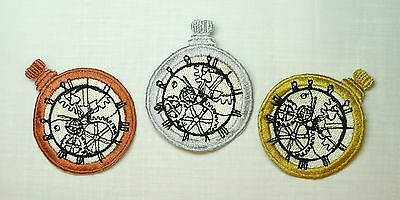 Embroidered Pocket Watch and/or  Watch Chain Motif / Patch / Applique-3 Colours