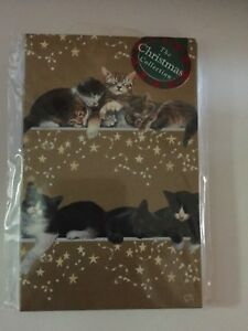 039-Sweet-dreams-Black-amp-White-and-Tabby-Cat-Gold-15-small-Christmas-cards-SALE