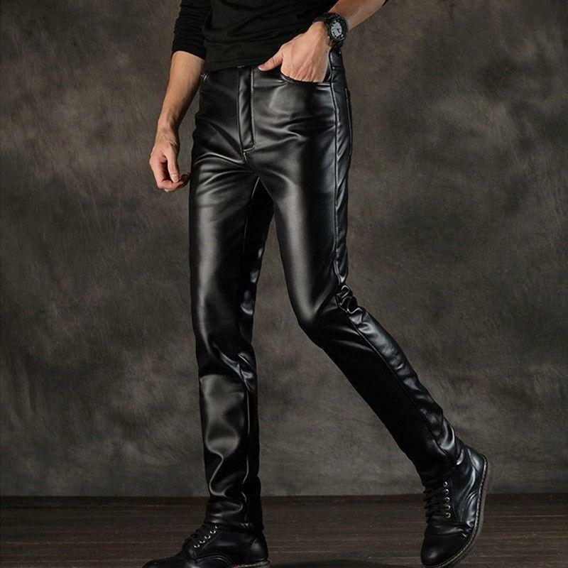 Fashion Men Fleece Lined Leather Biker Pants Wet Look Slim Winter Soft Trousers