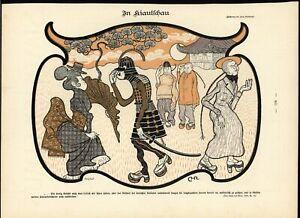 Racist-Japanese-Stereotypes-Noble-Woman-Samurai-1898-antique-Art-Nouveau-print