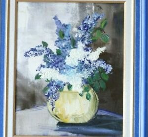 Bouquet-of-flowers-in-a-vase-framed-oil-on-canvas-still-life-circa-1980