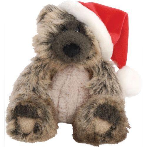 Suki Monty Bear Wearing Santa Hat  Large Two-Tone Charcoal Colour Soft Toy