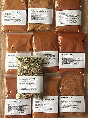 BBQ - Grill Gewürzset.10 tlg a 50 g , Magic Dust , Barbecue Rub , Memphis Dust u